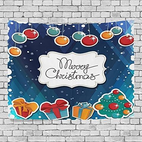welllee Merry Christmas Wand Wandteppich, Xmas Kugeln Geschenk, werfen Home Decor Wandteppich für Schlafzimmer oder Wohnzimmer, 60x 40(in), Textil, blau, 90x60(in)