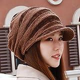Inverno donna in maglia Cappello di lana Flat Top Grandi Beret Hat cappa calda protezione auricolare cappelli,(54-62cm),caffè profonda compleanno madre padre valentino regalo di Natale