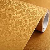 Wasserdichter Europäische selbstklebende Tapete Wohnzimmer Hintergrund PVC selbstklebende Tapete Gold
