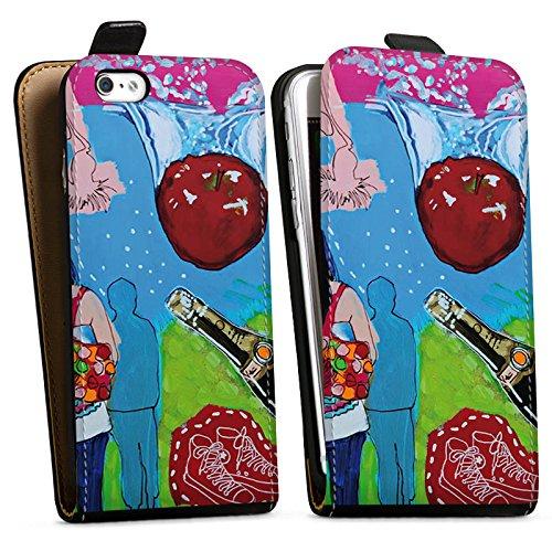 Apple iPhone X Silikon Hülle Case Schutzhülle Menschen Apfel Flasche Downflip Tasche schwarz