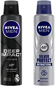 NIVEA MEN Deodorant, Deep Impact Freshness, 150ml and NIVEA MEN Deodorant, Silver Protect Antibacterial, 150ml