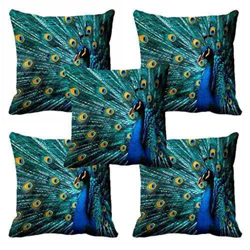 "meSleep Modern 5 Piece Satin 3D Beautiful Peacock Cushion Cover - 16""x16"",..."
