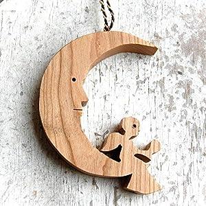 Holz Mond mit Engel