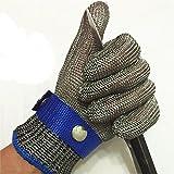 elegantstunning Edelstahl Draht Weben anti-cutting verschleißfestem Stahl Draht Handschuhe mit Metall Schnalle gray/M-Medium