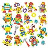 Baker Ross Aufkleber aus Moosgummi mit verschiedenen Robotermotiven für Kinder zum Dekorieren und Verzieren von futuristischen Karten, Collagen und Anderen Bastelarbeiten (120 Stück)