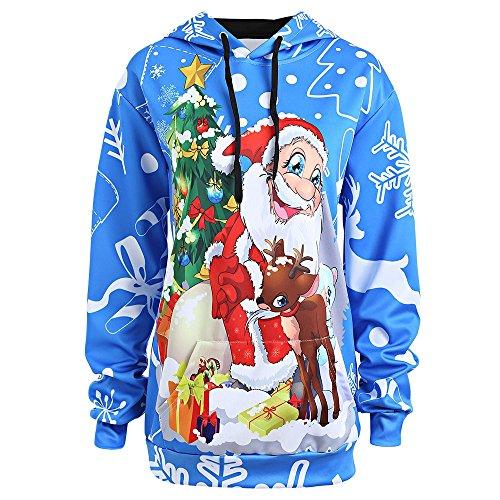 Hannea Plus Size Christmas Santa Claus Snowflake Hoodie