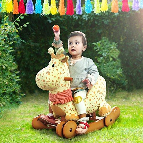 Labebe Baby Schaukelpferd Holz, 2-in-1 Schaukelpferd mit Räder, Schaukeltier Giraffe Gelbe für Baby 1-3 Jahre Alt, Schaukel Pferd/Schaukel Baby/Schaukeltier Musik/Schaukel Kinder/Schaukel Spielzeug - 3