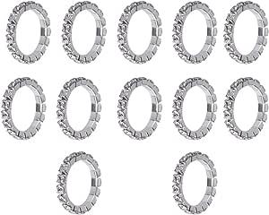 Fenteer 12x Fascino di Moda Lucido Strass Anelli Elastici Gioielli da Sposa Elastico in Rame
