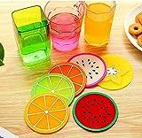 kalaixing Marke Isolierung Pads. Silikon Fruchtscheiben Muster Untersetzer Glas Tasse Matte Drink Tisch-Sets rutschfest. Durchmesser: 9cm–6Stück