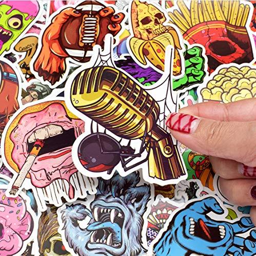 YLGG Horror Punk Sticker Graffiti Dunkles Skelett Sexy wasserdichte Aufkleber für Aufkleber auf Laptop Gepäck Stoßstange Fahrradhelm Auto 100st - Dunkle Gepäck