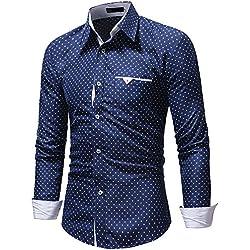 Winwintom -Camisas Hombre Camisas Hombre Manga Larga Fit Imprimir Long Sleeve Shirt Fit M L XL 2XL,3XL,Camisa De Lunares para Hombres Mangas Largas Ajuste Delgado