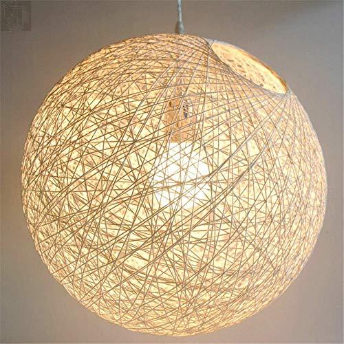 SGWH ® Handgestrickte Lights_Nordic Einfache Rattan-Handgewebte Lampe Room Garden Coffee Shop-Fenster Kreativer Hanfkugel-Nachttisch-Kronleuchter 20CM, 20CM, Braun