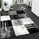 Paco Home Designer Teppich Modern mit Konturenschnitt Karo Muster Marmor Optik Grau Creme, Grösse:80x300 cm