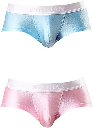 Sandbank Men's Sexy Solid Nylon Pouch Boxer Brief Underwear Panties Underpants, 2 Pack #2, Medium