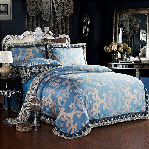 Sammlung ägyptischer Bettwäsche set, langstapelige Baumwolle hypoallergen Blatt,Bettbezug 4 Stück Tröster Set & Kissen SET, BLAU, König (König Tröster Set Blau)
