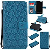 BONROY Oppo R9s Case, Oppo R9s Leather Wallet Case Embossing Pattern Design Leather Flip BookStyle Phone Cover Magnetic Folio Wallet Bag Case Cover for Oppo R9s-(Rattan flowers-blue)