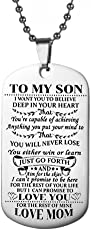 to My Son Tag Stainless Steel Pendant Letters Boys Necklace Military Chain Air Force Pendant Necklace (Pattern 1)