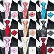 Mens formal 100% Silk neck tie, pocket square cufflink set wedding (black grey)