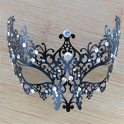 Frau Maskerade Maske Halloween Weihnachten griechische Party Maske Karneval Maske Metall Maske, schwarz, (Frau Zombie Ziemlich Maske)