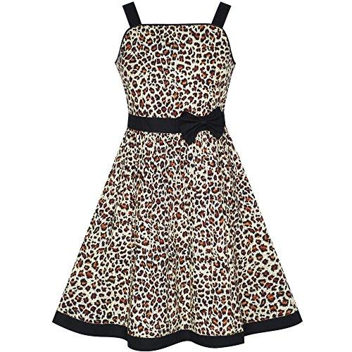 Mädchen Kleid Braun Leopard Drucken Sommer Strand Gr. 98-104 (Baumwolle 100% Leopard)