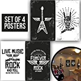 BAND POSTERS, Set Of Four 11X17 Electric Guitar Lovers decorations Prints and Punk Bands poster gifts ideas, Wall Art Decoration of 1 MM Thick for Bedroom!