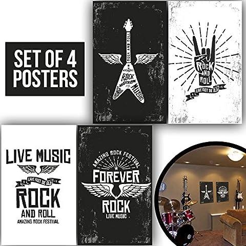Band affiches, Lot de 411x 17les amateurs de guitare électrique Décorations Impressions et Punk Poster idées de cadeaux, décoration murale Décoration de 1mm d