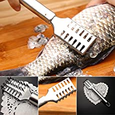 Generic Kitchen Tool Cleaning Fish Skin Scraper Stainless Steel Fish Scales Brush Cleaner Descaler Skinner Scaler Fishing Tools