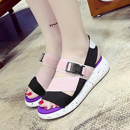 RUGAI-UE Sandali estate donna casual le suole spesse Toe sandali donne elastico scarpe comode per studenti Pink