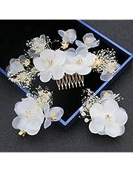 khskx-the novia boda seda hilo mantianxing flores cabeza pelo traje mujeres flores con cuentas tocado Sen boda accesorios, B