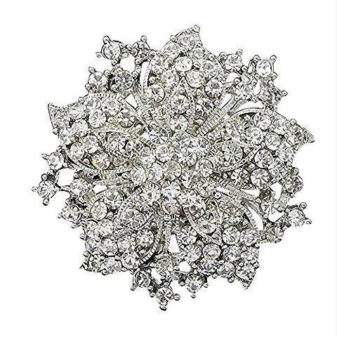 Contever Fashion Jewellery Fancy Rhinestone Bling Crystal Bauhinia Blossom Flower Cluster Brooch Pin (