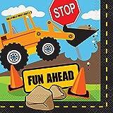 Unique Party 52072 - Construction Party Paper Napkins, Pack of 16