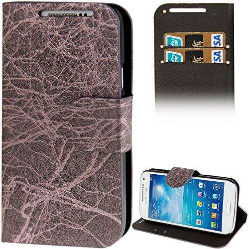 Schützen Sie Ihr Mobiltelefon Wurzeln Texture Flip Leder Tasche mit Kreditkarte Slots & Holder für Samsung Galaxy S IV Mini / i9190 für Samsung Handy (Farbe : Dunkellila)