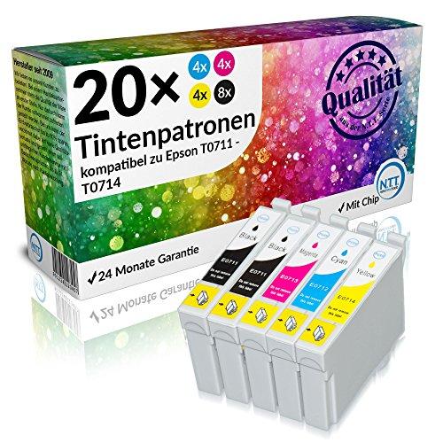 N.T.T.® - 20 STÜCK XL Druckerpatronen / Tintenpatronen Sparset für Epson T0711 T0712 T0713 T0714 T0715 mit Chip