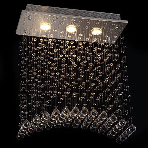 Geschmiedet Schwarz Zwei Licht (Dst Moderen Brücke Welle Kristall Licht Deckenleuchte Kronleuchter für Esszimmer Wohnzimmer Schlafzimmer Arbeitszimmer L50cm W20cm H58cm)