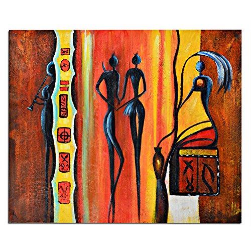 Raybre Art® 100% Pintada a mano sobre Lienzo Cuadros al óleo Lámina Sin Bastidor - Cuadros Étnicos Retro Cuadros Abstractos - Una pieza 50 * 60 cm - para Pared Decoración Hogar Sala Cocina Dormitorio (mujer
