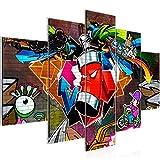 Bilder Graffiti Streetart Wandbild 150 x 100 cm Vlies - Leinwand Bild XXL Format Wandbilder Wohnzimmer Wohnung Deko Kunstdrucke Rot 5 Teilig -100% MADE IN GERMANY - Fertig zum Aufhängen 401853a