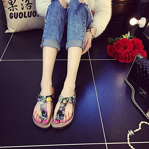 Estate Sandali Pantofole femminili in sughero estivo Modo pantofole spesso Sandali di scarpe da spiaggia per 18-40 anni Colore / formato facoltativo #3