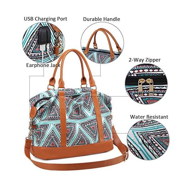 61UoeYgRKaL. SS600  - Bolso de Viaje Mujer de Mano Impermeable Bolso de Compras Grande Bolsa de Deporte Duffle Bag con Puerto USB para…