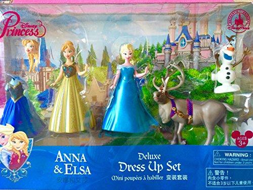 Authentische Disney - Prinzessin Elsa und Anna Deluxe-Dress up Mode Set beinhaltet Sven und Olaf - Clip On Magiclip