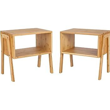 songmics 2er set nachttisch aus bambus stapelbarer kaffeetisch wohnzimmertisch couchtisch. Black Bedroom Furniture Sets. Home Design Ideas