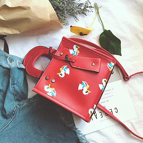 Weibliche art und Weise kleine quadratische paketdiamant pu-dame Kurierbeutel Rot