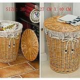 Creativo cestino di immagazzinaggio lavanderia in rattan con coperchio cesto della biancheria, adatto per lo stoccaggio di vestiti, bagno, giocattoli, ecc. È fatto di vimini di spessore e ha un rivest