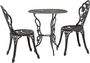vidaXL 2x Bistrostuhl Bronze Aluminiumguss Gartenstuhl Terrassenstuhl Stuhl