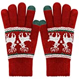 ECOMBOS Touchscreen Handschuhe Damen - Frauen Winter Warm Handschuhe Touch Screen Fäustlinge mit Fleecefutter, Weihnachten Geschenke für Damen Mädchen (ELK-Rot)