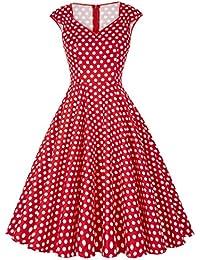 GRACE KARIN® 1950s Audrey Rockabilly Robe de Cocktail Rétro Col V Sans Manche