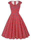Yafex Women's Empire Dress X-Large Style 1 Red&Polka White