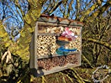 Black Insect Hotel with Feeder and Wood Bark...