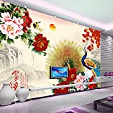 Y-Hui Living room TV wall wallpaper peony mural landscape peacock jade carving 3d wallboard wall,275cmx235cm