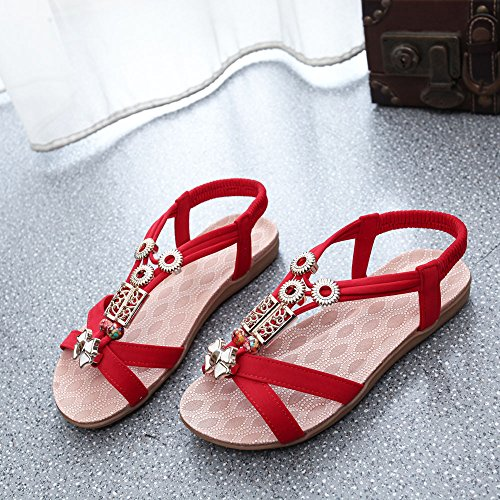 Longra Donne Rilievo piatto di Open Toe Sandals Rosso