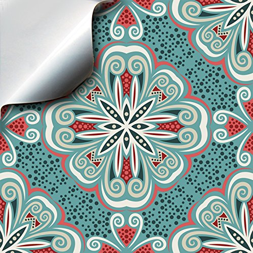 "4""x4"" - Turkish Mint - 2 Self Adhesive Mosaic Wall Tile Stickers For 100mm (4 inch) Square Tiles -(TP 80)- Realistic Looking Stick On Wall Tile Transfers Directly From the Manufacturer: TILE STYLE DECALS, No Middleman -- Peel and Stick on Tile to Transfor"